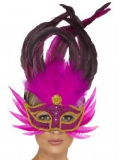 Venetian Pink Feather Eye Mask